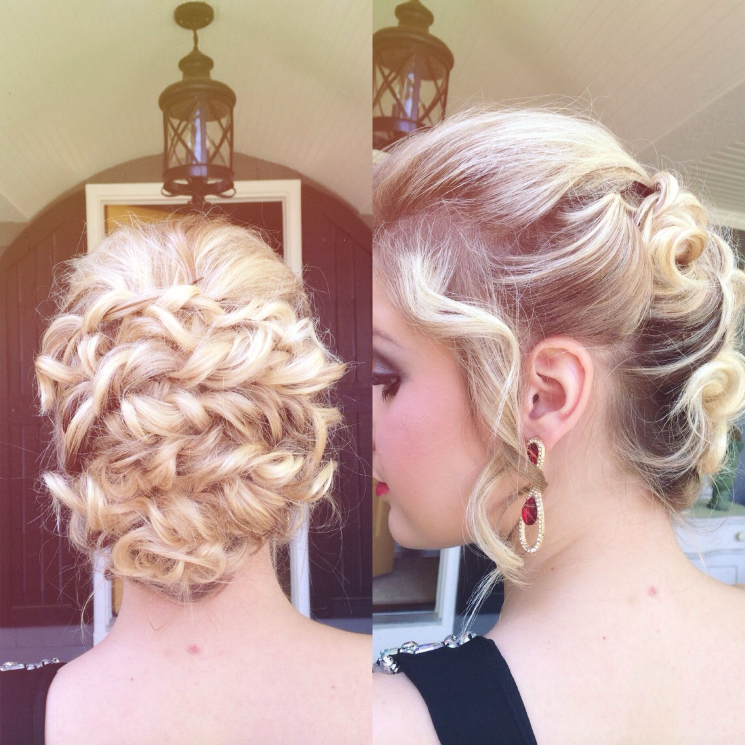 Prom hair; hairstyle; prom updo; curly updo. I did this on a friend ...