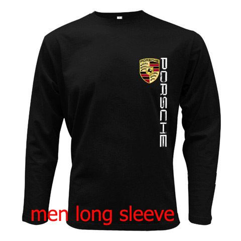 Porsche Logo T Shirt Men Long Sleeve Tshirt Black Cotton