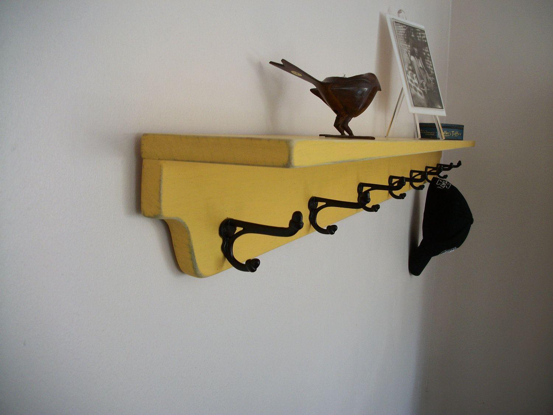 Shabby Chic Pine Shelf with Coat Hooks 60 by SquareNailFurniture ...