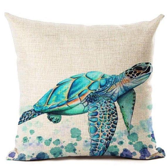 Blue Green Sea Turtle Marine Animal Nautical Square Linen Cushion Pillow Cover In 2021 Sea Turtle Throw Pillow Turtle Decor Beach Throw Pillows