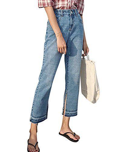 b03da6a18898 Pantalon À La Cheville en Jean Femme Taille Haute Denim Jeans Larges Bleu  Clair M