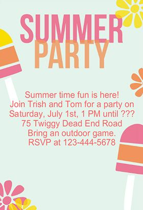 Striped Popsicles Pool Party Invitation Template Free Greetings Island Summer Party Invitations Pool Party Invitation Template Party Invite Template