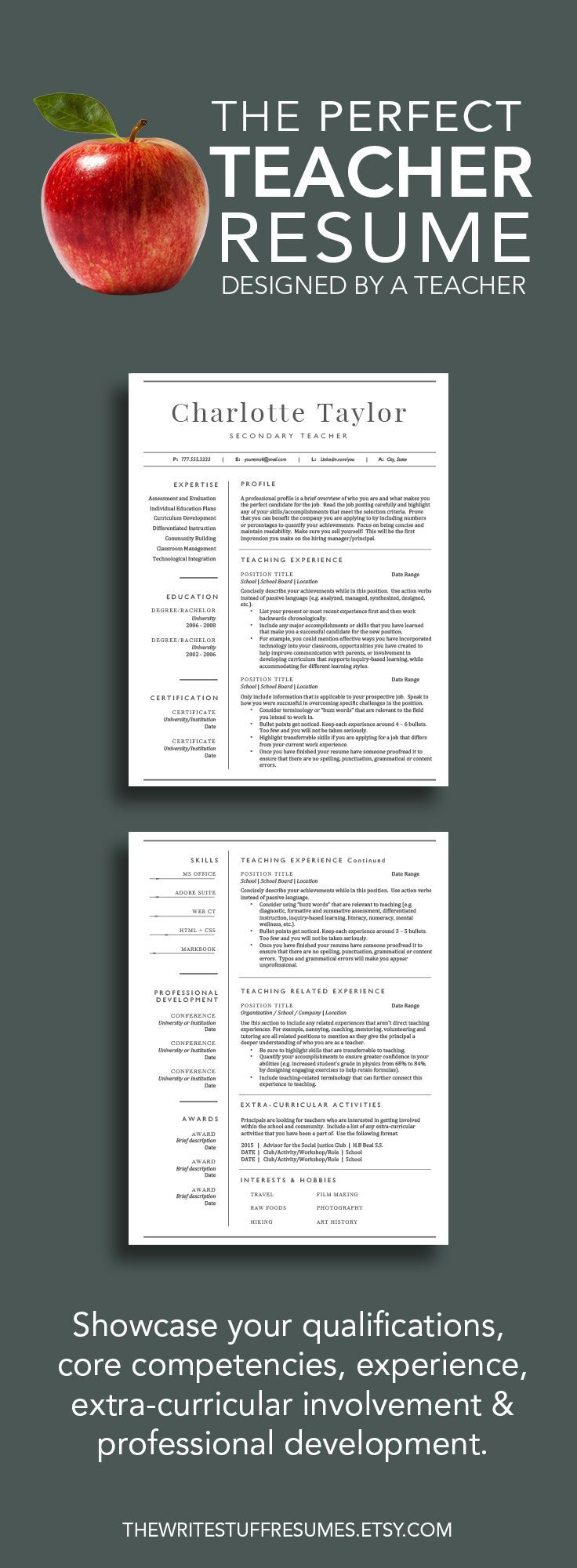 2 Page Teacher Resume Template for Word (includes cover