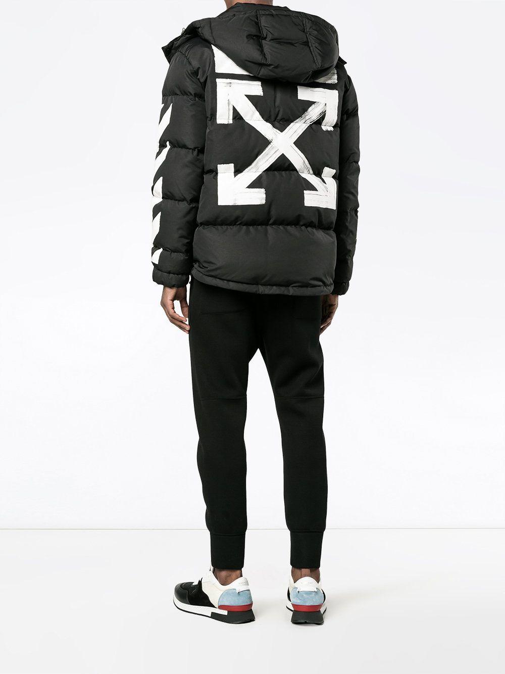 Off White Brushstroke Printed Puffa Coat Mens Jackets Puffer Jackets Jackets [ 1334 x 1000 Pixel ]