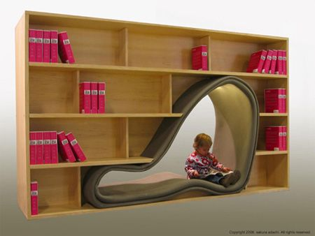 Cave Bookcase = Holy Cow I want this for my child's room!!!!!! Now!!!!!    http://www.toxel.com/inspiration/2009/01/01/modern-and-creative-bookshelf-designs/#