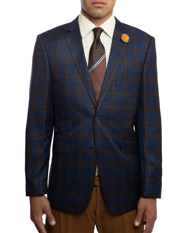 English Laundry Men S Slim Fit Elbow Patch Plaid Sport Jacket