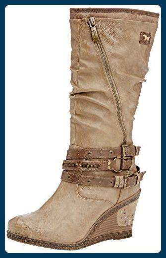Mustang Stiefel, Damen Langschaft Stiefel, Braun (318 taupe