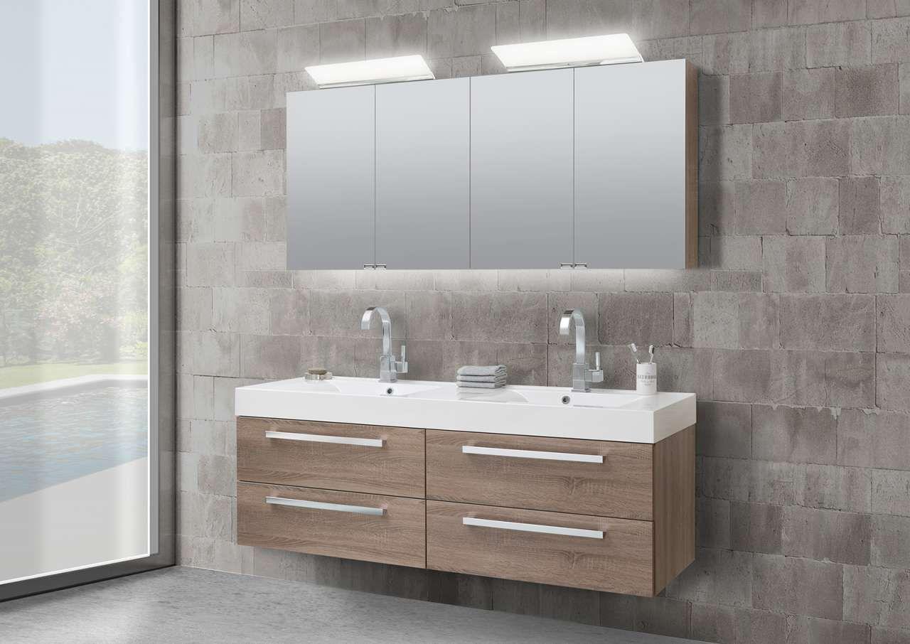 Badmöbel Doppelwaschtisch 160 cm mit Unterschrank Spiegelschrank ...