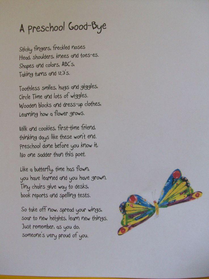 Preschool PoemEnd of year Preschool graduation