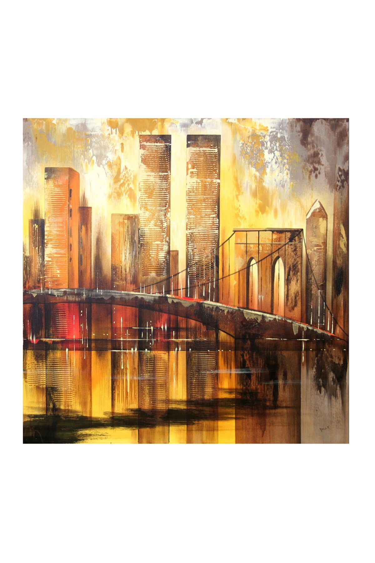 New York Skyline Extra Large Handpainted Art on Cotton Canvas ...