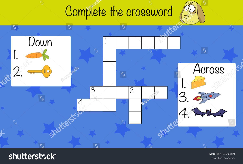 Puzzle Game For Children Fill The Crossword Preschool
