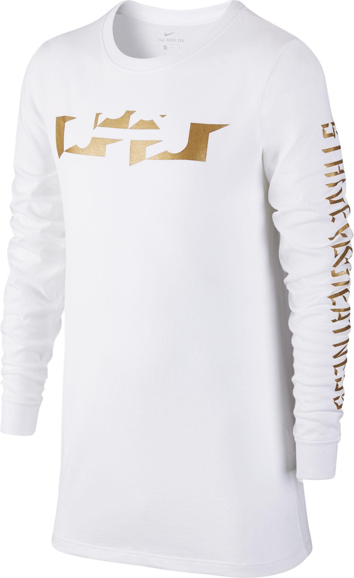Nike Boys Dry Lebron Long Sleeve T Shirt White Size X Large Boy S Apparel Boy S Athletic Tops At Academy Spor Lebron James T Shirt Nike Dri Fit Big Boys [ 2000 x 1226 Pixel ]