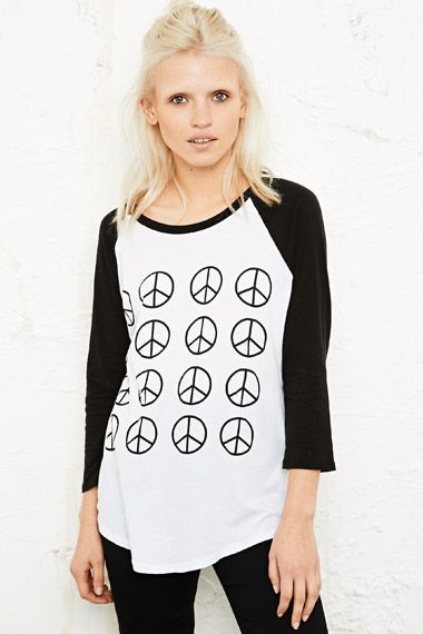 Truly Madly Deeply Peace Grid Baseball Tee at Urban Outfitters £30