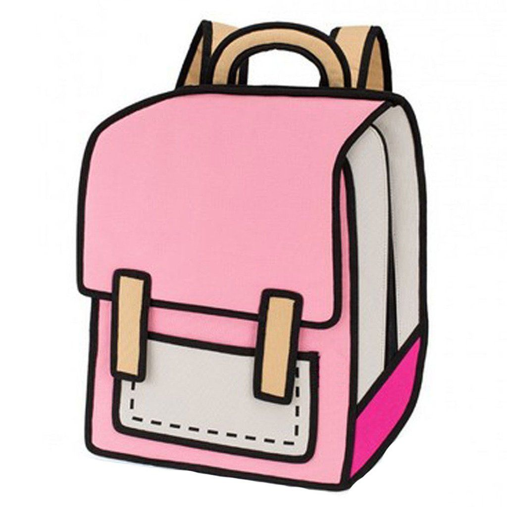 783d8b575ff7 £16 Sammua 3D Jump Style 2D Drawing From Cartoon Paper Comic Backpack School  Shoulder Bag - pink  Amazon.co.uk  Luggage