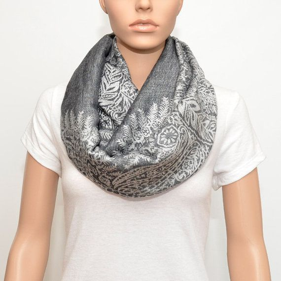 Nursing Cover Scarf , Gray Infinity Scarf with floral pattern ...