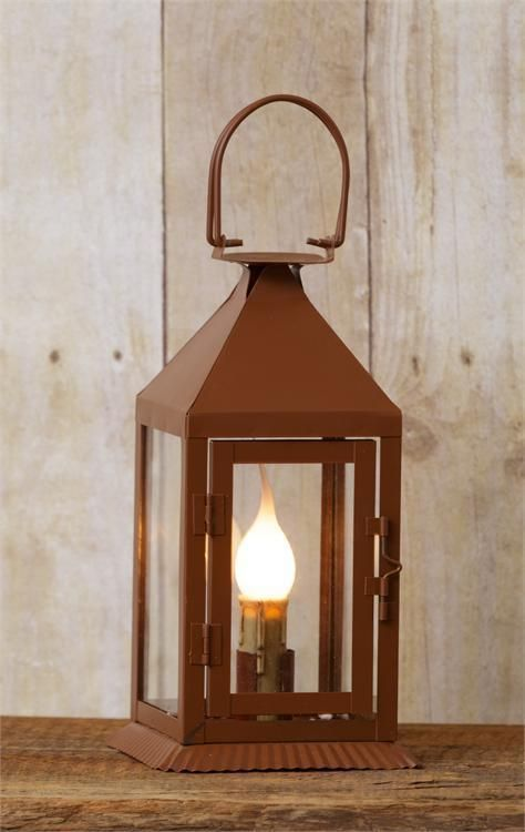 New Primitive Antique Style Rusty Brown Metal Electric Candle Lantern Lamp  Light