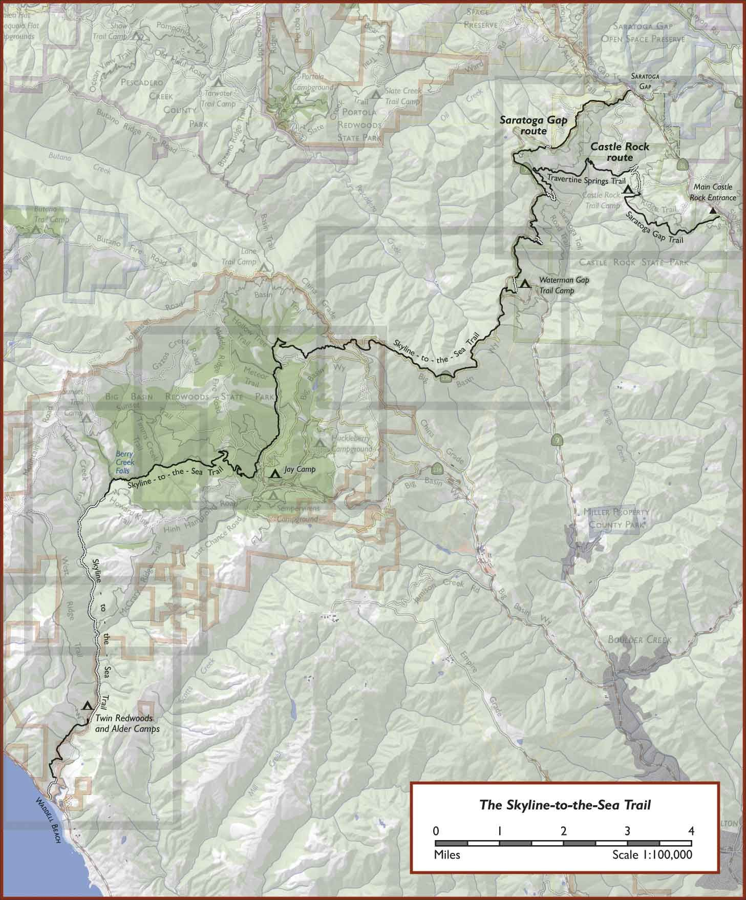 Map of the Skyline-to-the-Sea Trail, Big Basin Redwoods State Park ...