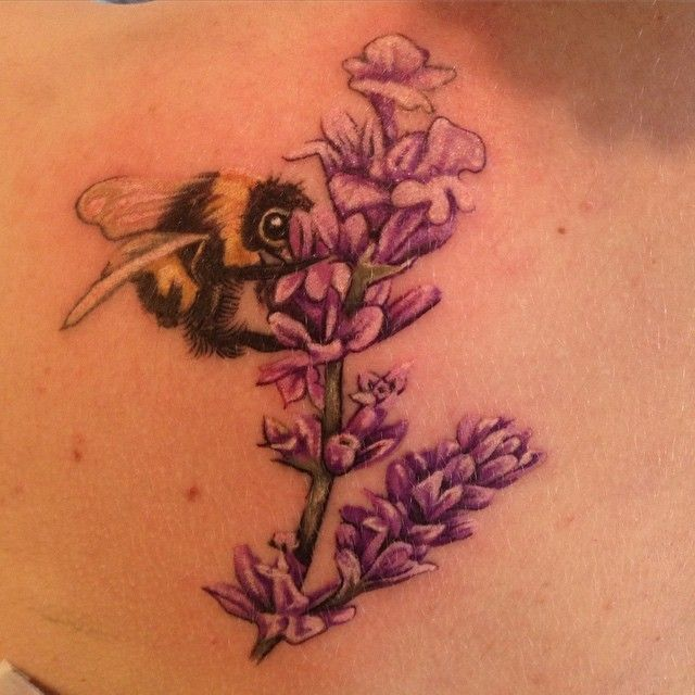 Little bee and lavender my favorite flower rat a for Bee and flower tattoo