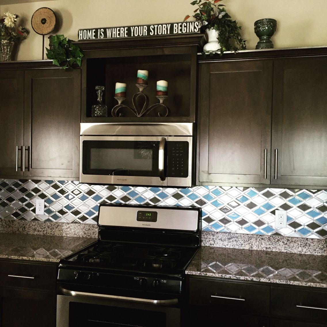 Glass stone mosaic kitchen backsplash photo marazzi pictures to pin on - My New Kitchen Glazzio Tiles Falling Star Series Cerulean Glass