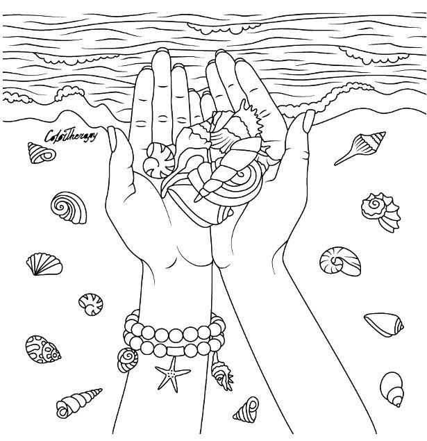Hands With Seashells Coloring Page Color Therapy App Try This