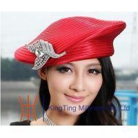 377b91fae3e57 Quality Beret Red   Silver Satin Braid Ladies Church Hats