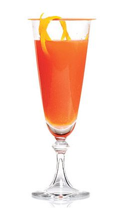 Campari and Orange Sparkling Cocktail ::  1 1/3 cups sparkling rosé wine, chilled •      6 tablespoons fresh orange juice, chilled •      6 tablespoons Campari, chilled •      Orange rind curls (optional) • Combine first 3 ingredients. Garnish with rind, if desired. • From Vanessa Pruett, Cooking Light November 2011
