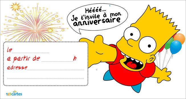 Invitation Anniversaire Bart Simpson Invitation Anniversaire Carte Invitation Anniversaire Invitation Anniversaire Garcon