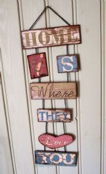 Shabby Chic Style Metal/Tin Kitchen Wall Sign - 'Home is Where They Love You ..