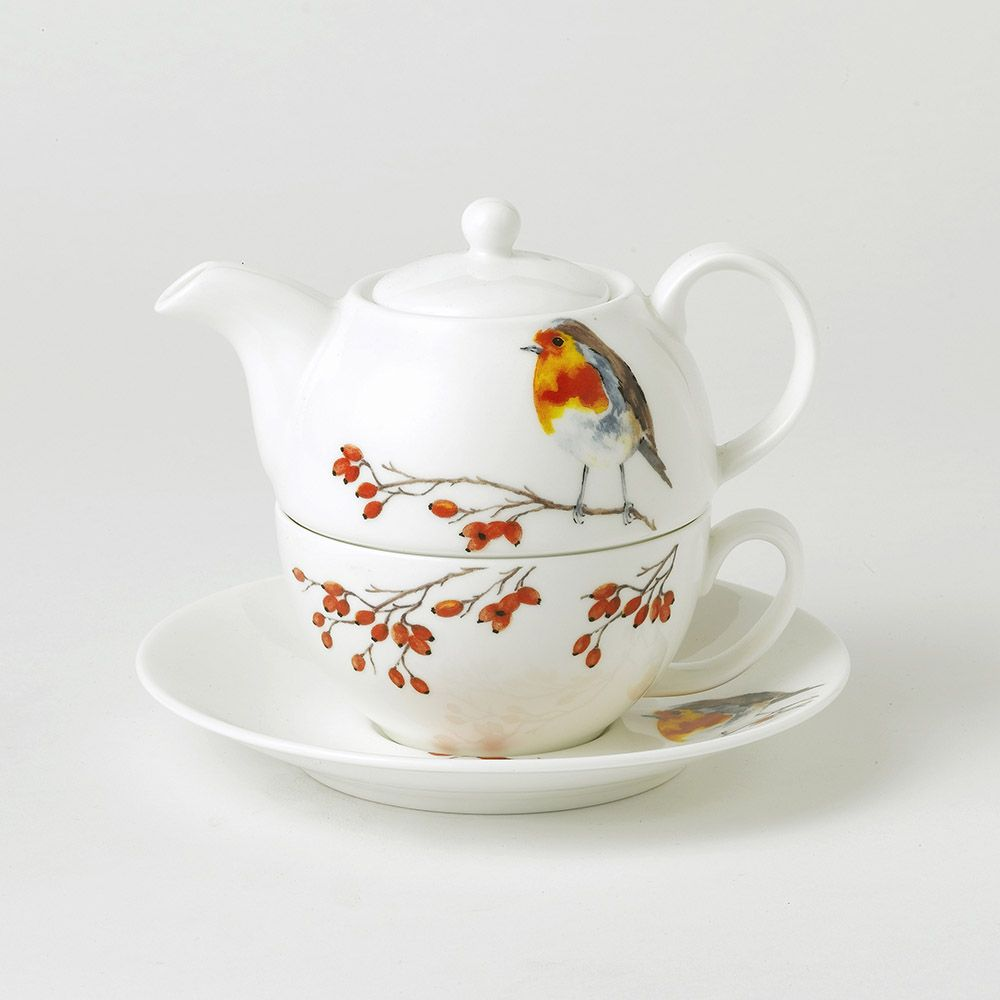Robin Fine Bone China Tea For One Teapot With Tea Cup And Saucer