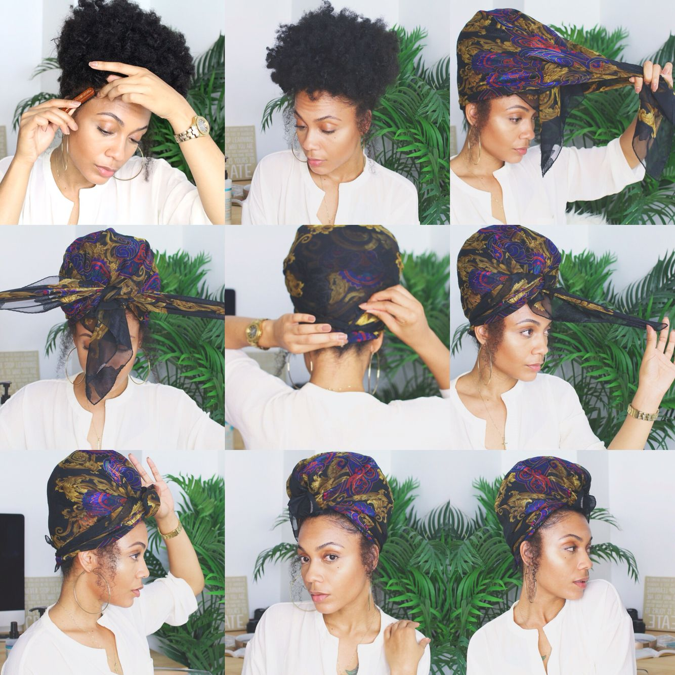 Natural Hair Puff Headscarf How To Tie