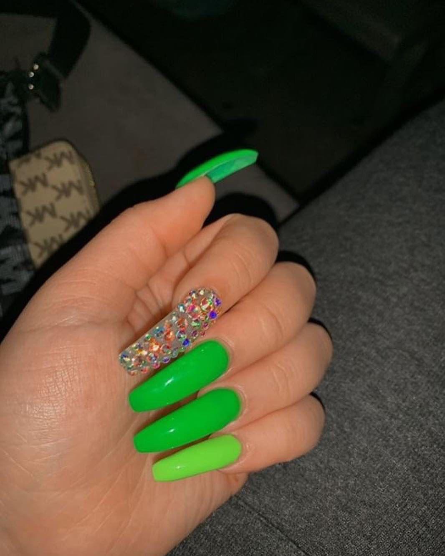 Blessed Xoxojamm Green Acrylic Nails Long