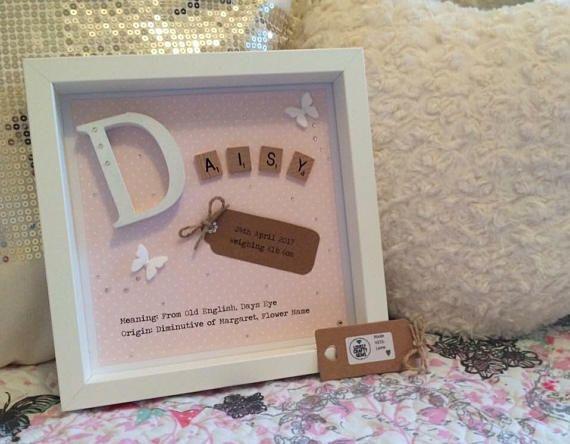 Girl\'s Name Frame Scrabble Frame Baby Gift Pink Girl | mine & kates ...