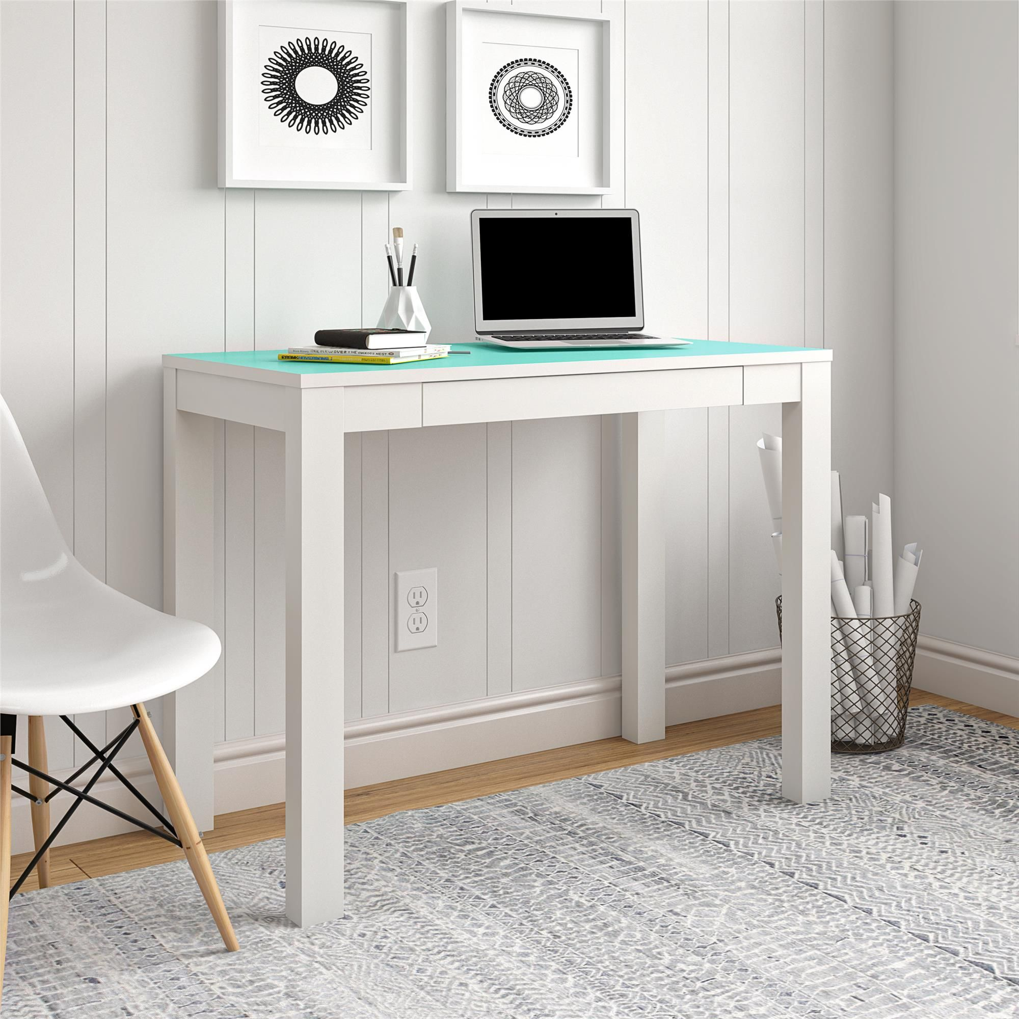 Ameriwood Home Parsons Computer Desk With Drawer White Spearmint Walmart Com Walmart Com In 2020 Desk With Drawers Desk Computer Desk