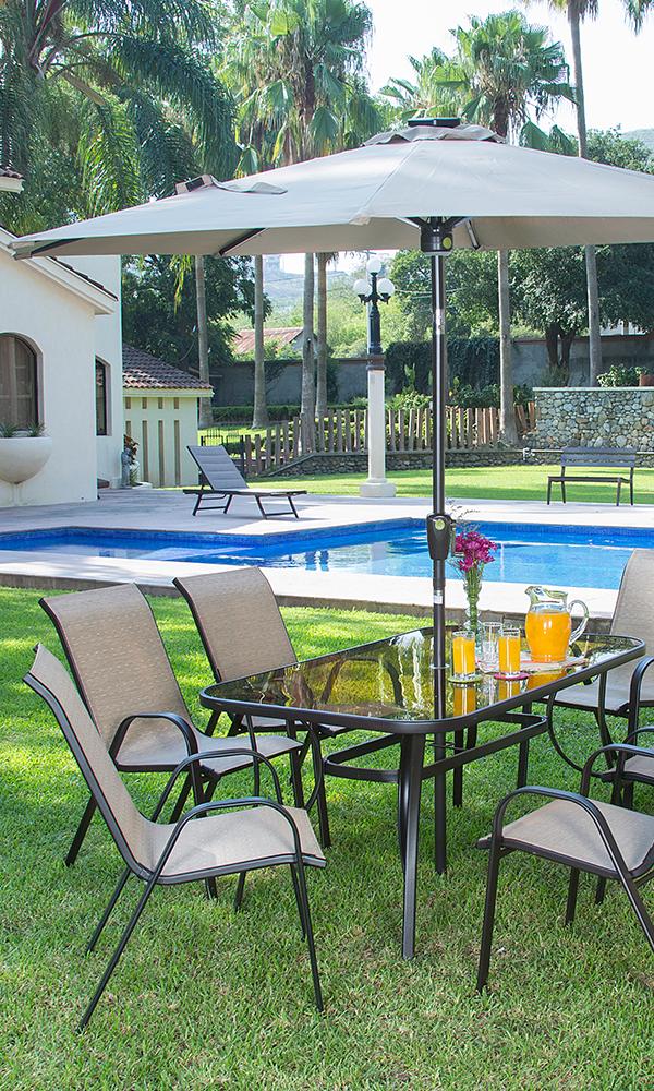 Juego De Mesa Y Sillas Para Jardin Color Beige Decoracion Exterior