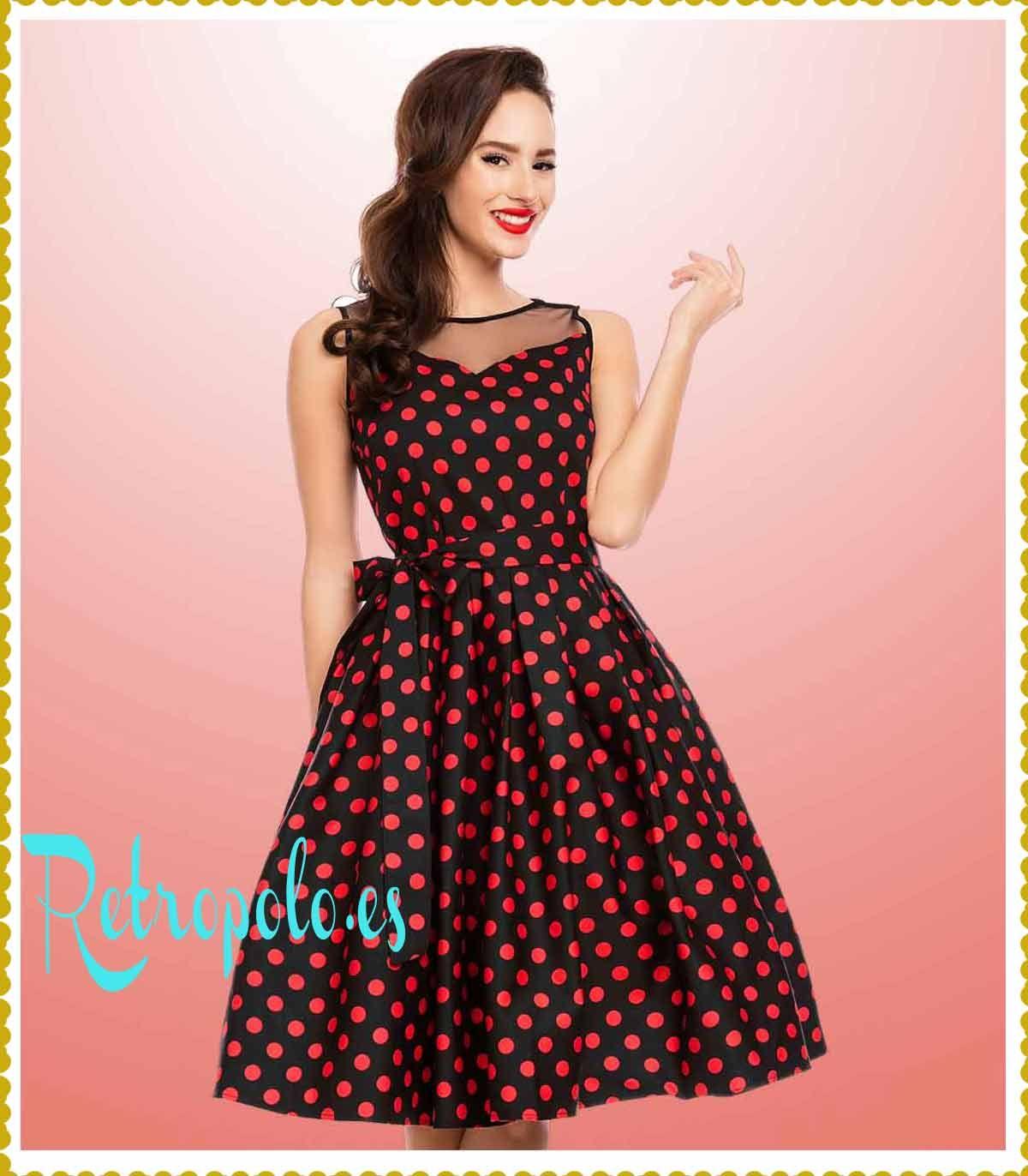 Katherine Vestido Vintage Lunares negro y Rojo Vuelo de Tarde Noche ...