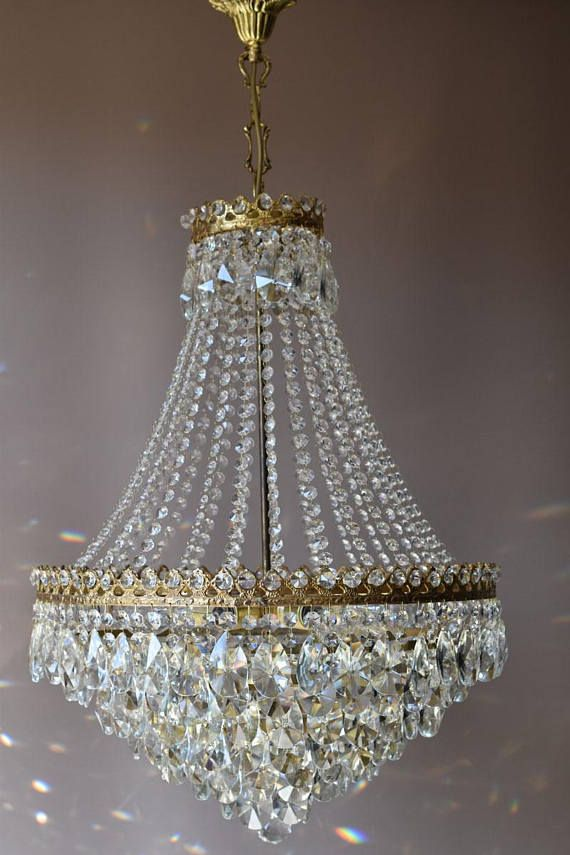Home Lighting Sale Brass Waterfall Antique French Vintage Chic Shabby Crystal Chandelier Lamp Art Vintage Crystal Chandelier French Antiques Crystal Chandelier