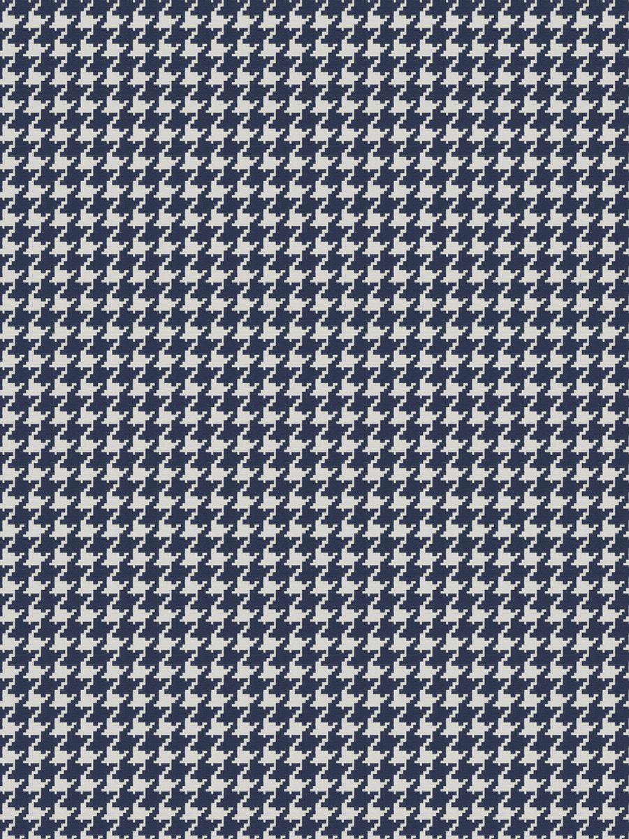 Navy Blue Houndstooth For Furniture Upholstery By