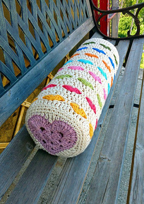Crochet PATTERN Pillow Case Bolster Cushion Cover Round Heart Motif Classy Bolster Pillow Cover Pattern