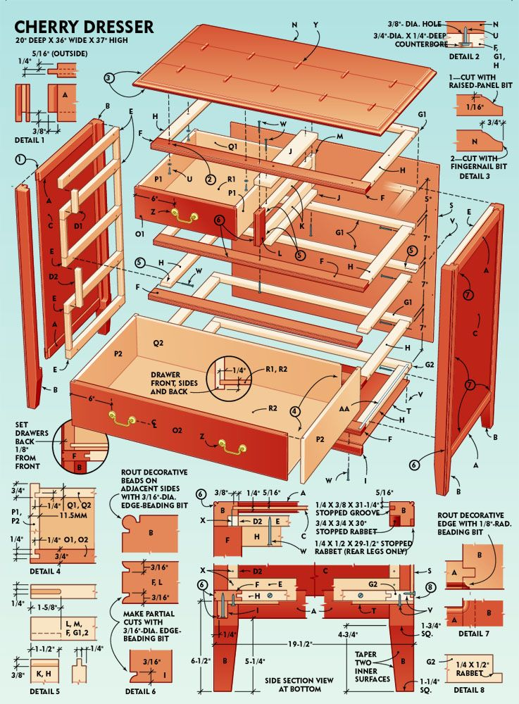 How To Build A Classic 5 Drawer Cherry Dresser Build A Bunk Bed