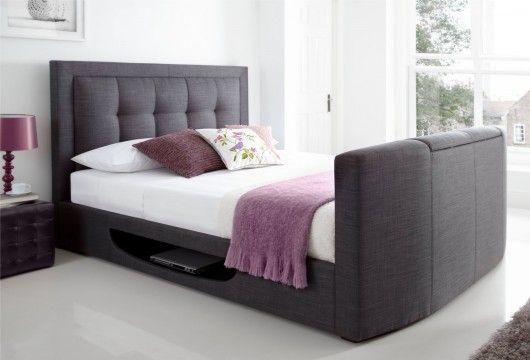 Best New Kaydian Bowburn Upholstered Tv Bed Slate Fabric 400 x 300