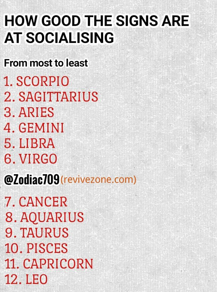 most to least socialising zodiac signs, aries, taurus, gemini, cancer, leo,  virgo, libra, scorpio, sagittarius, capricorn, aquarius, pisces | Pinterest  ...
