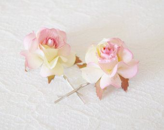 White rose clips wedding bobby pins flower hair by gardensofwhimsy
