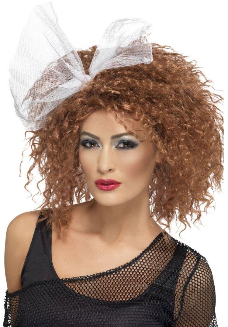 80er Frisuren Feine Locken Volumen Haarband Weiss Disko Party Look
