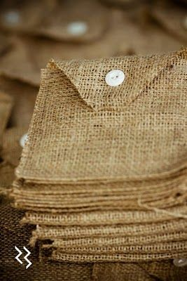Burlap invites! DIY possibility and adorably cheap! Even if no on the invites.... How flippin cute are these bags/envelopes?? I'm thinking HAPPENIN happy bags at the very least!! ;-)
