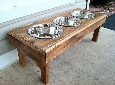 Pallet furniture dog bowl stand