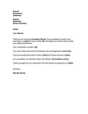 This free printable reservation confirmation letter can be used to this free printable reservation confirmation letter can be used to describe and outline hotel room spiritdancerdesigns Images