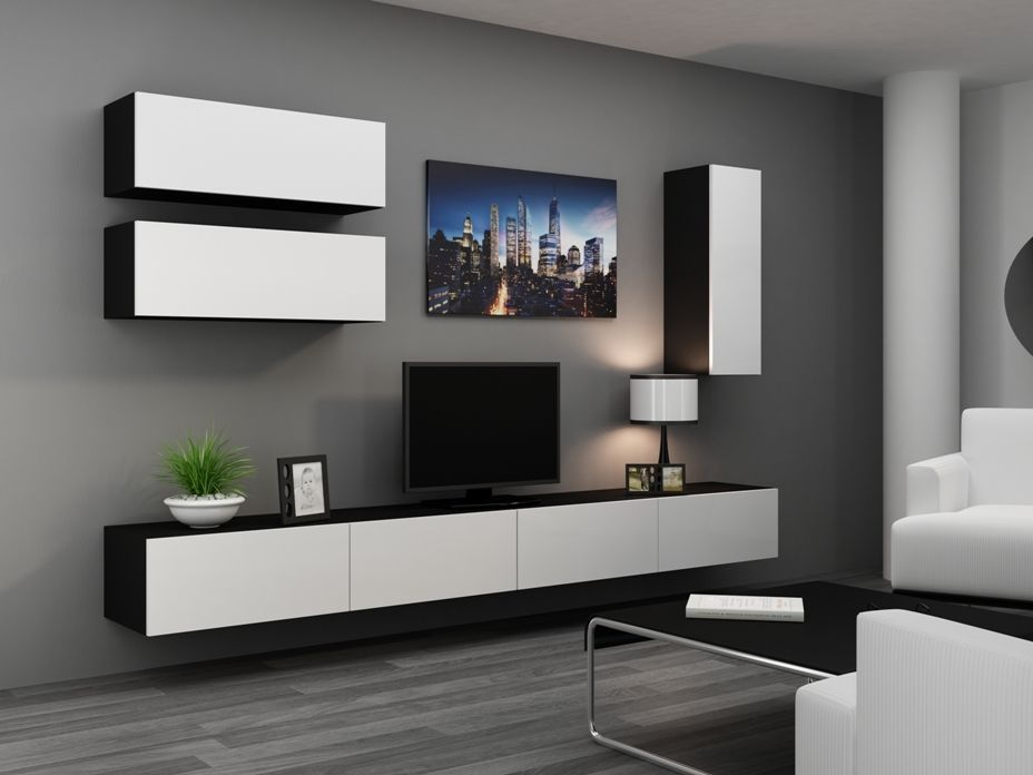 High gloss tv cabinet tv wall unit tv stand 39 viva 13 - Small tv for kitchen wall ...
