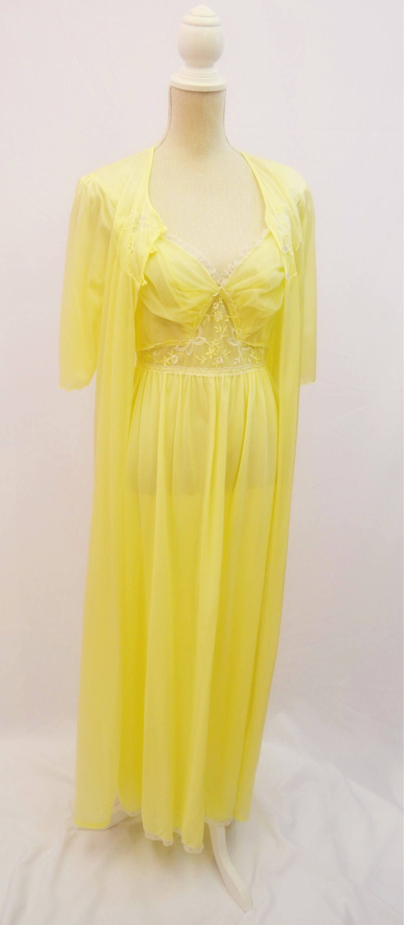 Valentines gift Yellow sheer night gown and Negligee set made by Lady Daz  in 1960 s by VintageVanityGB on Etsy 67499e452