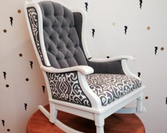 Items Similar To STEVIE Rocker : Handmade Tufted Rocking Chair With Gray  Velvet And Designer Trellis Print Gray And White On Etsy