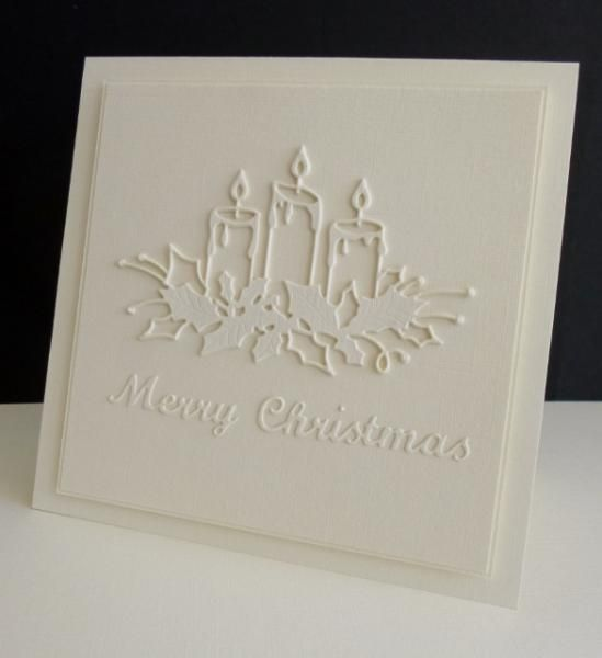 Christmas Card Making Ideas Pinterest Part - 32: Memory Box Glowing Candles Christmas Card (white On White)